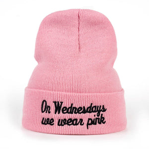New Winter Hat Women Beanie On Wednesdays We Wear Pink Hat Wool Knitted