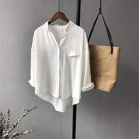 High quality Casual Chiffon white Women blouse shirt oversized Three Quarter sleeve loose shirt office wear casua tops blusas