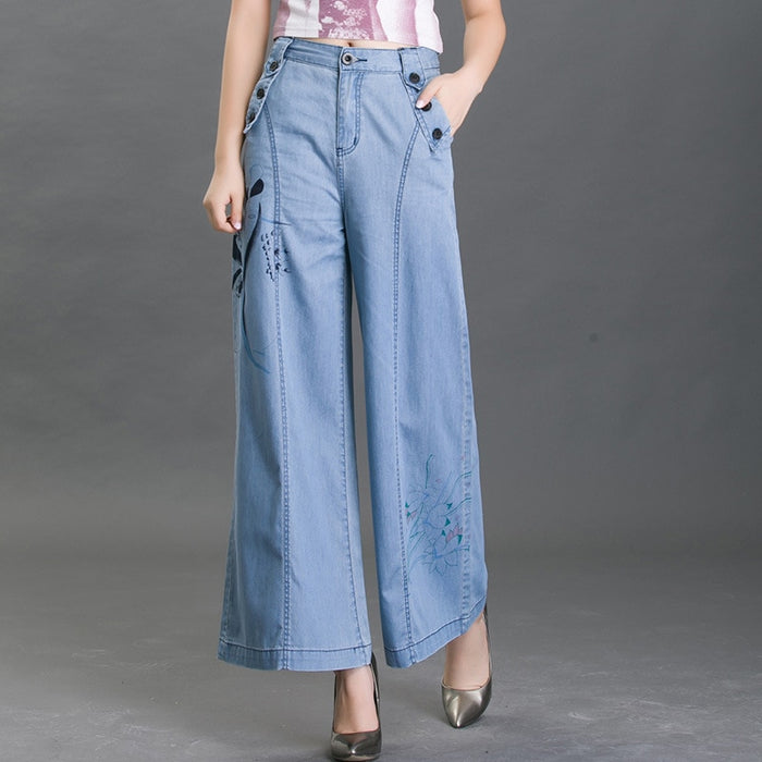 printing High waist loose wide leg jeans pants for women 2018 new denim jeans trousers blue plus size 28 34 female casual pants