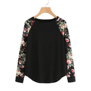 Floral Sleeve Curved Hem Womens Tee Shirts Autumn Womens T shirts Casual Ladies