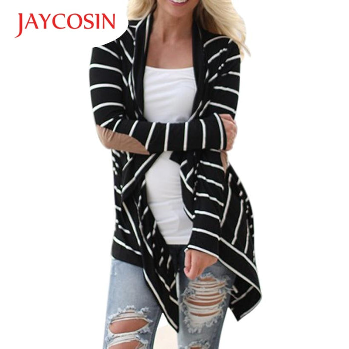 Fashion Autumn Outerwear Women Long Sleeve Striped Printed Cardigan Casual Elbow Knitted Sweater Accurate size
