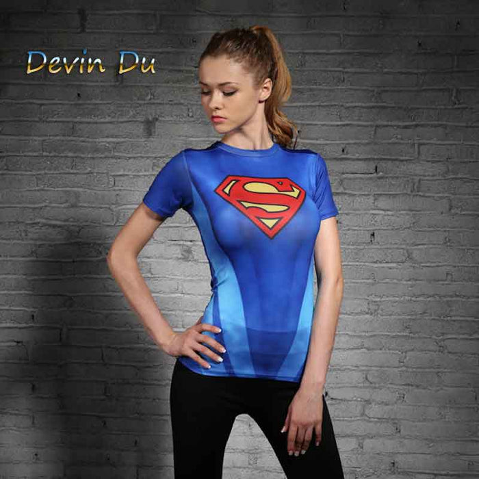 Super Heroes Women T Shirt Superman Batman Spiderman The Hulk Flash Tshirt Iron Man Green Lantern Captain America Woman T-shirt