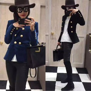 Blazer Slim Gold Velvet Small Suit Jacket Female Leisure  Women's clothing
