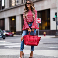 2017 Women  Fashion White And Red Striped Shirt Blouses Cotton