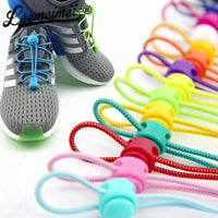 Stretching Lock lace 23 colors a pair Of Locking Shoe Laces Elastic Sneaker