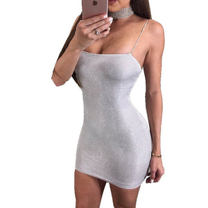 New Arrive Sexy Women Summer Silver Dress Strappy Sleeveless Slim Bandage Bodycon Party Cocktail Short Mini Dress