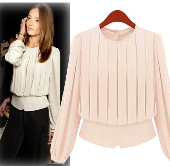Classic Women Pleated O-neck Chiffon Shirt Top, Fashion All-match Long Sleeve Chiffon Blouse