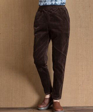 Corduroy pants for women elastic waist plus size casual bloomer pants harem brown