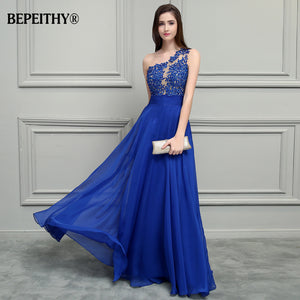BEPEITHY Royal Blue Chiffon Long Prom Dresses 2019 One Shoulder Lace Vintage