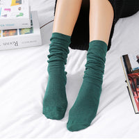 1Pair New Autumn Winter Wear Cute Cotton Solid Color School Style Long Soft Piles Socks Edge Curl Stocks For Women Girls