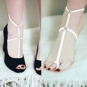 1Pair Gothic Women Black Hollow Harness Adjustable Cage Foot Ring Barefoot Ankle Anklet Accessories