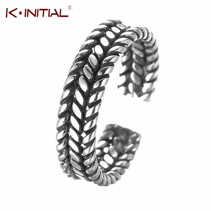 Kinitial 1Pcs Unique Tibet Wheat Shapes Chain Body Jewellery Antique Knuckle Toe Finger Ring For Men And Women Statement Rings