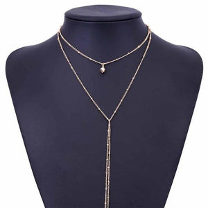 FAMSHIN 2017 New Delicate women necklace Y Lariat necklace  Dainty Gold beaded chain Choker necklace