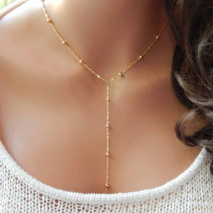 New Gold Beaded Lariat Necklace, Beaded Necklace, Y Women Clavicle necklace