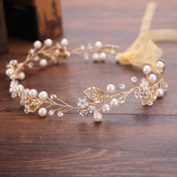 Bride Pearl Headband tiara Hair Jewelry Handmade Wedding Headpiece