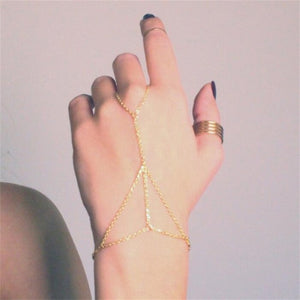 Celebrity Multi Chain Tassel Bangle Slave Finger Ring Hand Chain Harness Gold Gift
