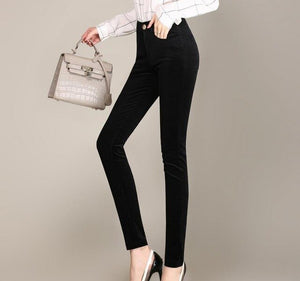 Spring and autumn new cotton corduroy feet pants women high waist stretch pencils