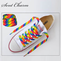 SENTCHARM 1pair New Style Rainbow Colorful Flat Shoelaces Fashion Shoestrings