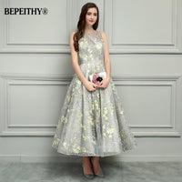 BEPEITHY O-Neck Ankle-Length Lace Evening Dresses Vestido De Festa
