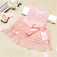 Baby Girls Princess Dress Sleeveless Lace Dress Crochet  Kids With Bow Belt Party Gift Dresses