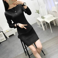 2018 Autumn Winter Sweater Dress Warm Pullovers Elastic Slim Dress Sexy