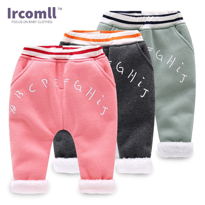 2018 New Ircomll Baby Pants Kids Trousers Warm Winter Thickening Lining Velvet Fleece Casual Baby Boys Clothing Children Kids