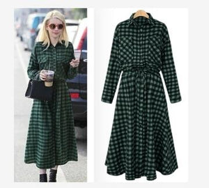 Plus Size 5XL 2017 Spring Fall Plaid Long Shirt Dress Lace Up Long Sleeve