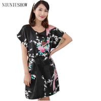 Summer Lounge Dress Print Peacock Sleepwear Sexy Nightgown Flower One