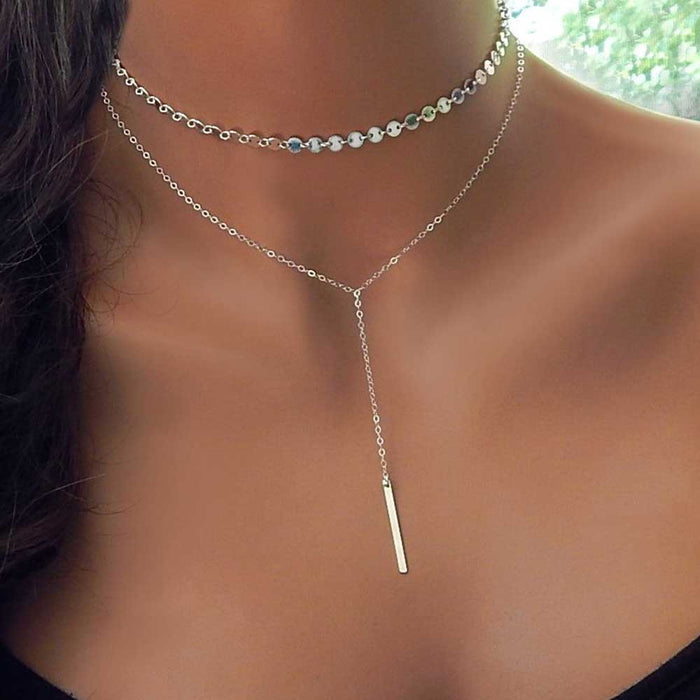 ALIUTOM Fashion Boho Coin Choker Layered of 2 Necklace Set Y Lariat Silver Bar Pendant Necklace Girlfriend Gift