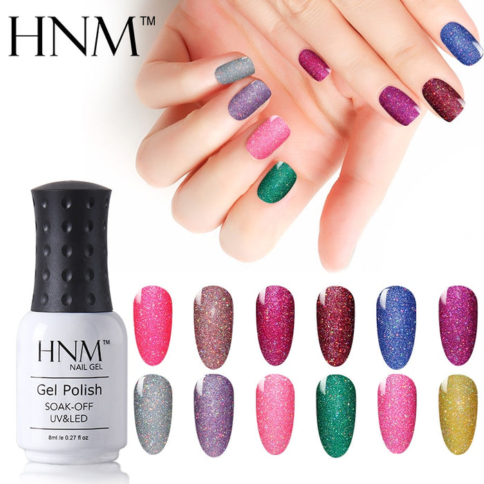 Nail Polish 8ml Giltter Bling Neon Colors Nail Varnishes Vernis Semi Permanent Gellak
