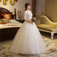 2017 Plus size Boat neck Lace Half Sleeves Lace Bride Ball Gowns