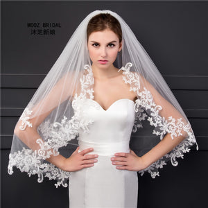 Elbow Length Veil in Stock 2018 Two Layers Appliques Lace Soft Tulle