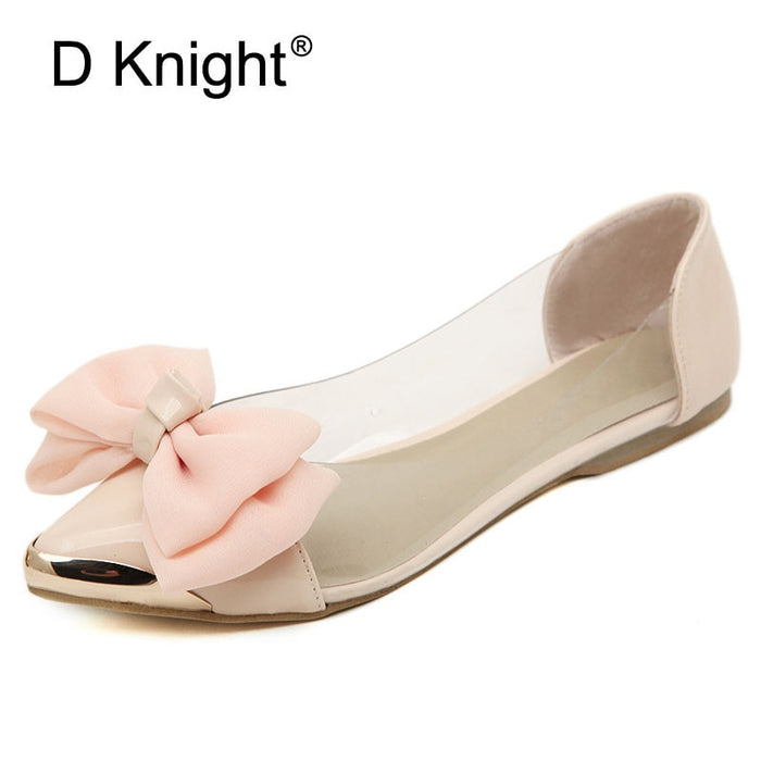 Big Bow Pointed Toe Slip-on Women Ballet Flats Fashion Metal Toe Women Flat Shoes Ballerinas Ladies Casual Flats Size 35-40 Pink