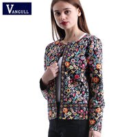Floral Print Jacket Autumn Basic Jacket for Women Multicolor Elegant Jackets and Coats