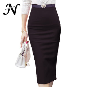 High Waist Pencil Skirt Plus Size Tight Bodycon Fashion Women Midi Skirt Red Black Slit Skirts Womens Fashion Jupe Femme S - 5XL