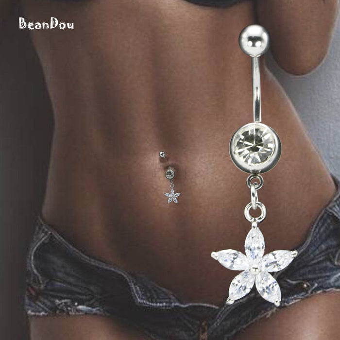Sexy Women's Flower Dangle Belly Button Ring Piercing Navel  Body Piercing Jewelry