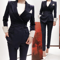 New Arrival Spring Fashion Women's Business Pants Suits Striped Slim Blazer