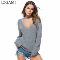 LOGAMI Women Sweaters And Pullovers 2018 Long Sleeve V Neck Loose Pullover Women Spring Autumn Casual Ladies Sweaters