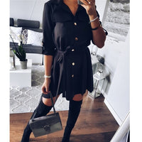 Women Shirt Dress Sexy Slim Single Breasted Turn-down Collar Mini