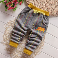CHILDREN WIT Autumn & Winter New Baby Pants Striped Cartoon With Velvet To Keep Warm For 0-3 years Children's Trousers