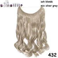S-noilite 20 inches 100% Real Natural hair Invisible Wire in Synthetic Hair Extensions No Clip with Secrect Line Easy Attach