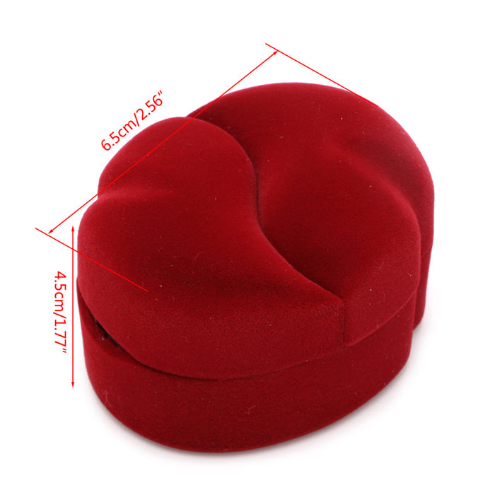 1Pcs Red color Velvet Engagement Wedding Couple Ring Earring Jewelry Display Storage Box Case