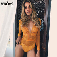 Sexy Deep V neck Lace Mesh Crochet Bodysuit Women Slim Fit Romper Jumpsuit