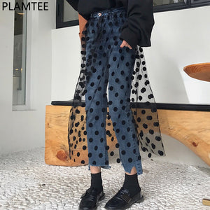 PLAMTEE Lace Patchwork Jeans For Women Tulle Polka Dot Jeans Woman Tassel High