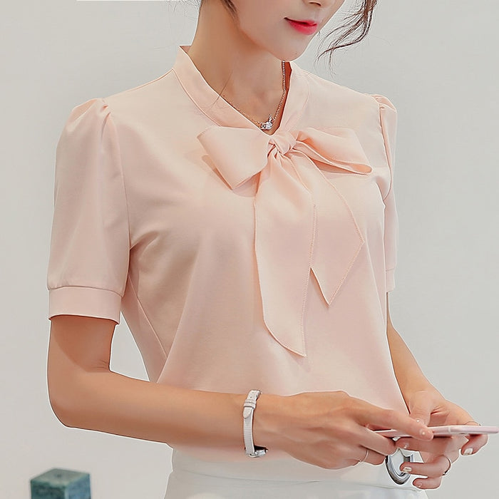 BIBOYAMALL Blouses For Women Summer Women Tops Short Sleeve Casual Chiffon Blouse Female Work Wear Solid Pink Office Shirts