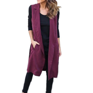 Autumn Outwear Long Pockets Turn-down Collar Open Stitch Sleeveless Blazer Vest Jackets