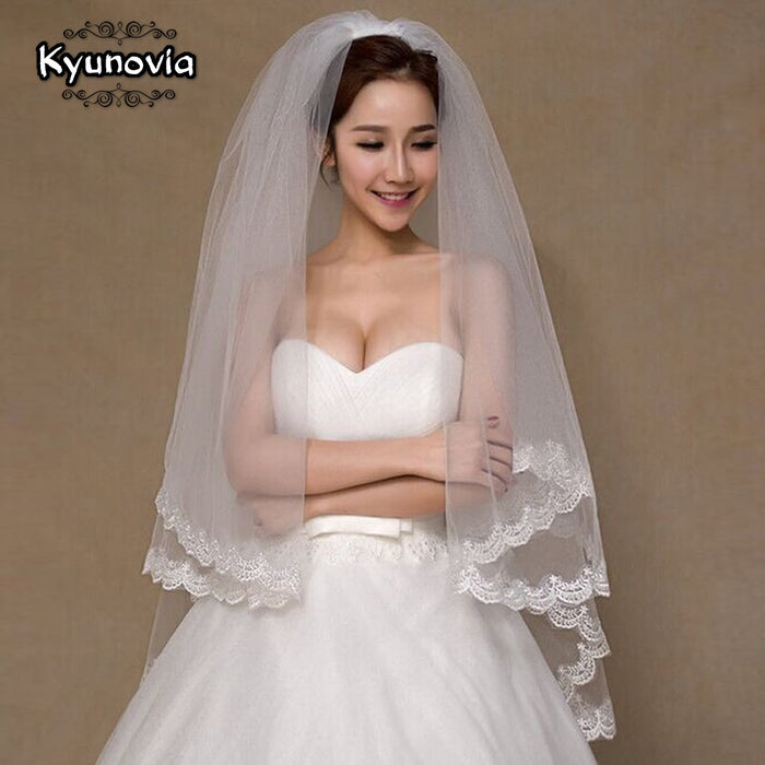 Kyunovia 2 Tier Bridal Veil Beautiful Ivory Cathedral Short Wedding Veils Lace