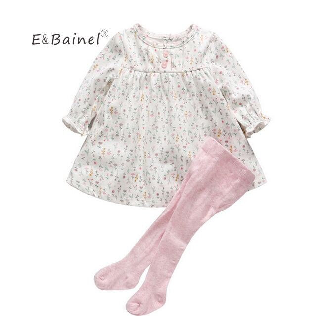 E&Bainel Baby Girl Clothing 0-12M Spring Autumn Baby Girl Dress Floral One Piece Baby Dress For Newborns Vestido+Leggings Pants