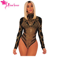 Lover Sexy Rompers 2018 Women Bodycon Clubwear Black Gold Rhinestone