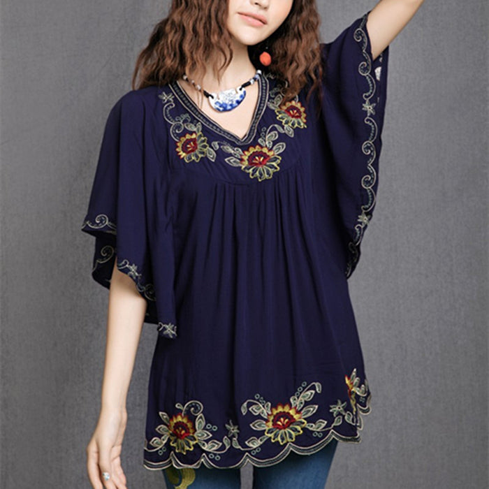 Floral Embroidered Maternity Blouse Vintage Summer Plus Size Clothing Blouses Shirt